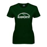 Ladies Dark Green T Shirt-Oklahoma Football Horizontal