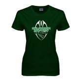 Ladies Dark Green T Shirt-Oklahoma Football Vertical