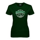 Ladies Dark Green T Shirt-Bison Basketball w/ Ball