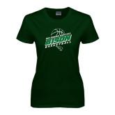 Ladies Dark Green T Shirt-Bison Basketball Slanted Stacked