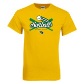 Gold T Shirt-Softball Crossed Bats