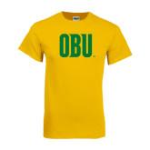 Gold T Shirt-OBU Wordmark
