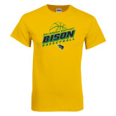 Gold T Shirt-Bison Basketball Slanted Stacked
