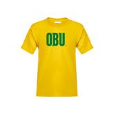 Youth Gold T Shirt-OBU Wordmark