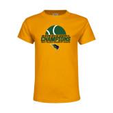 Youth Gold T Shirt-NCCAA Womens Tennis Champions 2017 - Half Ball