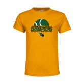 Youth Gold T Shirt-NCCAA Mens Tennis Champions 2017 - Half Ball