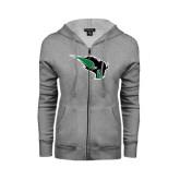 ENZA Ladies Grey Fleece Full Zip Hoodie-Power Bison