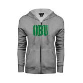 ENZA Ladies Grey Fleece Full Zip Hoodie-OBU Wordmark