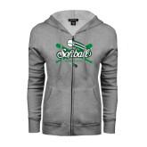 ENZA Ladies Grey Fleece Full Zip Hoodie-Softball Crossed Bats