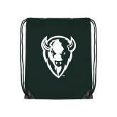 Dark Green Drawstring Backpack-Charging Bison White