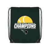 Dark Green Drawstring Backpack-NCCAA Womens Tennis Champions 2017 - Half Ball