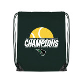 Dark Green Drawstring Backpack-NCCAA Mens Tennis Champions 2017 - Half Ball