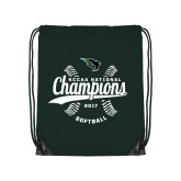 Dark Green Drawstring Backpack-2017 NCCAA National Softball Champions