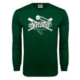 Dark Green Long Sleeve T Shirt-Softball Crossed Bats