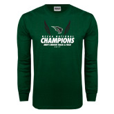 Dark Green Long Sleeve T Shirt-NCCAA National Champions - Mens Indoor Track and Field Wings