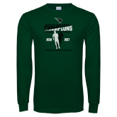 Dark Green Long Sleeve T Shirt-NCCAA National Champions Womens Outdoor Track and Field back to back