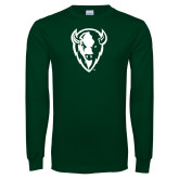 Dark Green Long Sleeve T Shirt-Charging Bison White