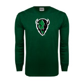 Dark Green Long Sleeve T Shirt-Charging Bison