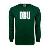 Dark Green Long Sleeve T Shirt-OBU Wordmark