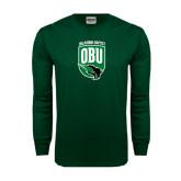 Dark Green Long Sleeve T Shirt-Shield Logo