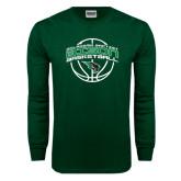 Dark Green Long Sleeve T Shirt-Bison Basketball w/ Ball