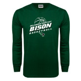 Dark Green Long Sleeve T Shirt-Bison Basketball Slanted Stacked