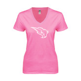 Next Level Ladies Junior Fit Ideal V Pink Tee-Power Bison