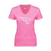 Next Level Ladies Junior Fit Deep V Pink Tee-Power Bison