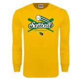 Gold Long Sleeve T Shirt-Softball Crossed Bats