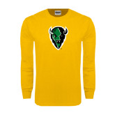 Gold Long Sleeve T Shirt-Charging Bison