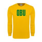 Gold Long Sleeve T Shirt-OBU Wordmark