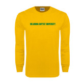 Gold Long Sleeve T Shirt-Oklahoma Baptist University Flat