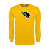 Gold Long Sleeve T Shirt-Power Bison Distressed