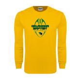 Gold Long Sleeve T Shirt-Oklahoma Football Vertical