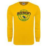 Gold Long Sleeve T Shirt-Bison Basketball w/ Ball
