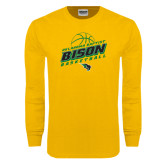 Gold Long Sleeve T Shirt-Bison Basketball Slanted Stacked