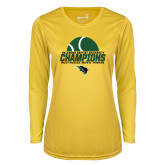 Ladies Syntrel Performance Gold Longsleeve Shirt-NCCAA Mens Tennis Champions 2017 - Half Ball