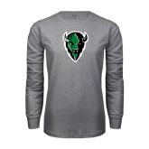 Grey Long Sleeve T Shirt-Charging Bison