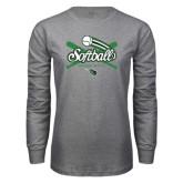 Grey Long Sleeve T Shirt-Softball Crossed Bats