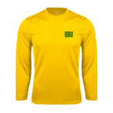 Syntrel Performance Gold Longsleeve Shirt-OBU Wordmark