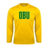 Syntrel Performance Gold Longsleeve Shirt-OBU Wordmark