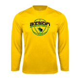 Syntrel Performance Gold Longsleeve Shirt-Bison Basketball w/ Ball