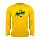 Syntrel Performance Gold Longsleeve Shirt-Bison Basketball Slanted Stacked