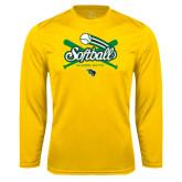 Syntrel Performance Gold Longsleeve Shirt-Softball Crossed Bats