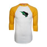 White/Gold Raglan Baseball T-Shirt-Power Bison