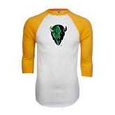 White/Gold Raglan Baseball T-Shirt-Charging Bison