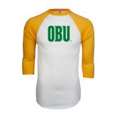 White/Gold Raglan Baseball T-Shirt-OBU Wordmark