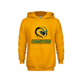Youth Gold Fleece Hoodie-NCCAA Womens Tennis Champions 2017
