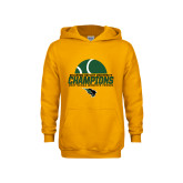 Youth Gold Fleece Hoodie-NCCAA Womens Tennis Champions 2017 - Half Ball