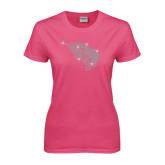 Ladies Fuchsia T Shirt-Power Bison Rhinestones